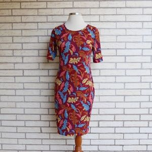 Lularoe Julia Dress Fall Leaf Print Fitted XL